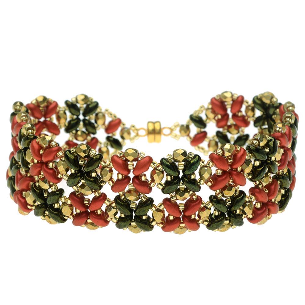 SuperDuo Blooms Bracelet - Poinsettia - Exclusive Beadaholique Jewelry Kit
