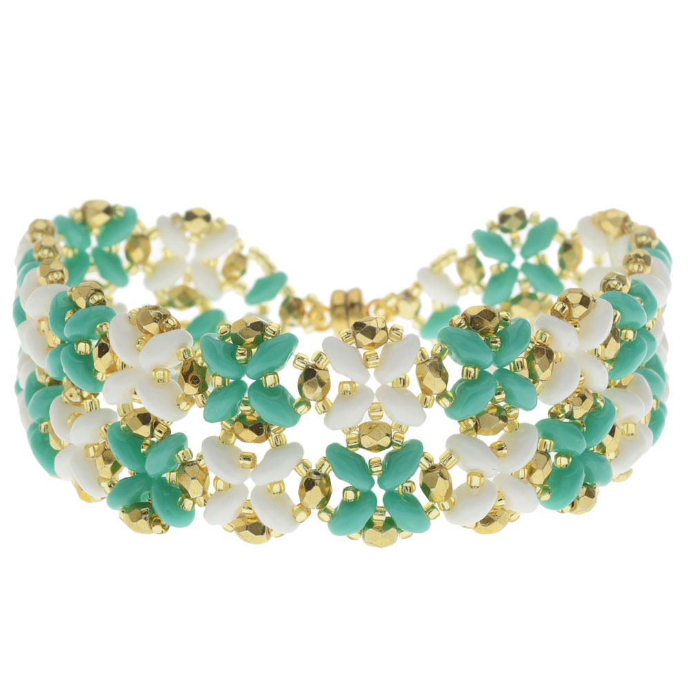 SuperDuo Blooms Bracelet - Turquoise/White - Exclusive Beadaholique Jewelry Kit