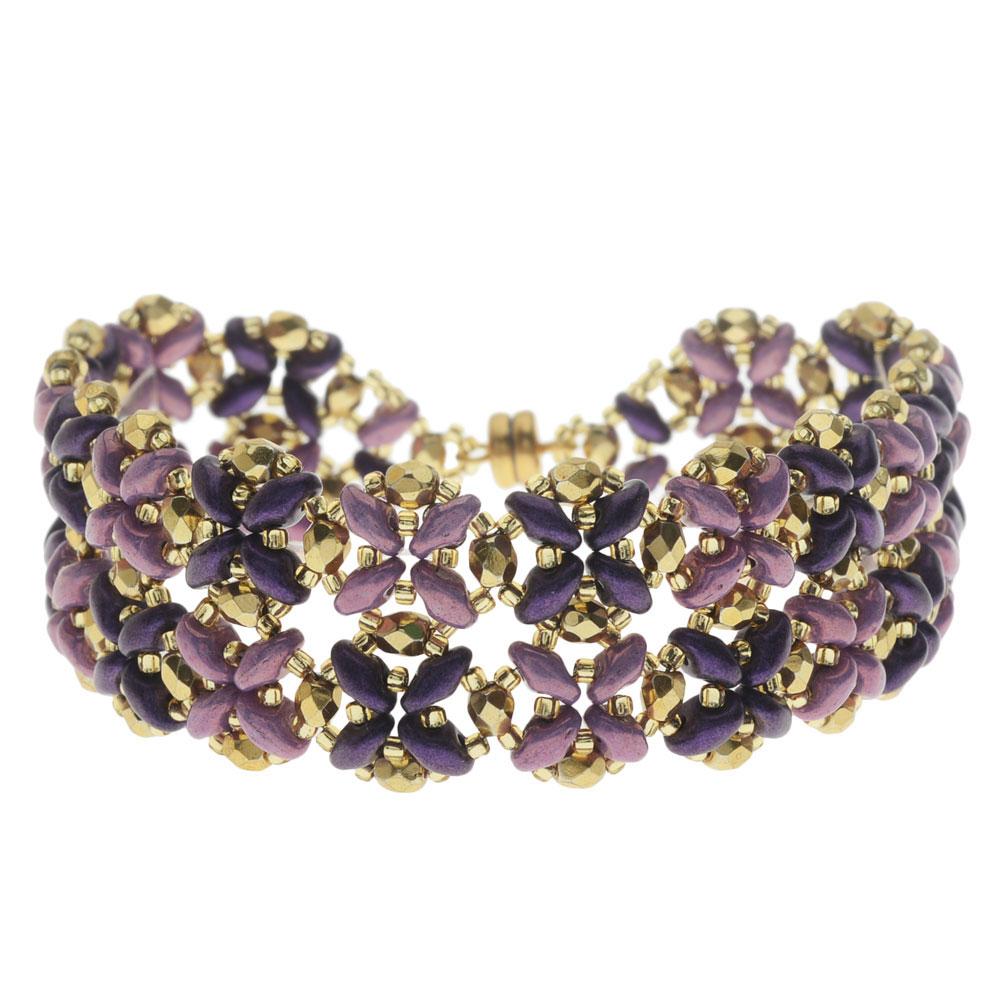 SuperDuo Blooms Bracelet  - Purple - Exclusive Beadaholique Jewelry Kit