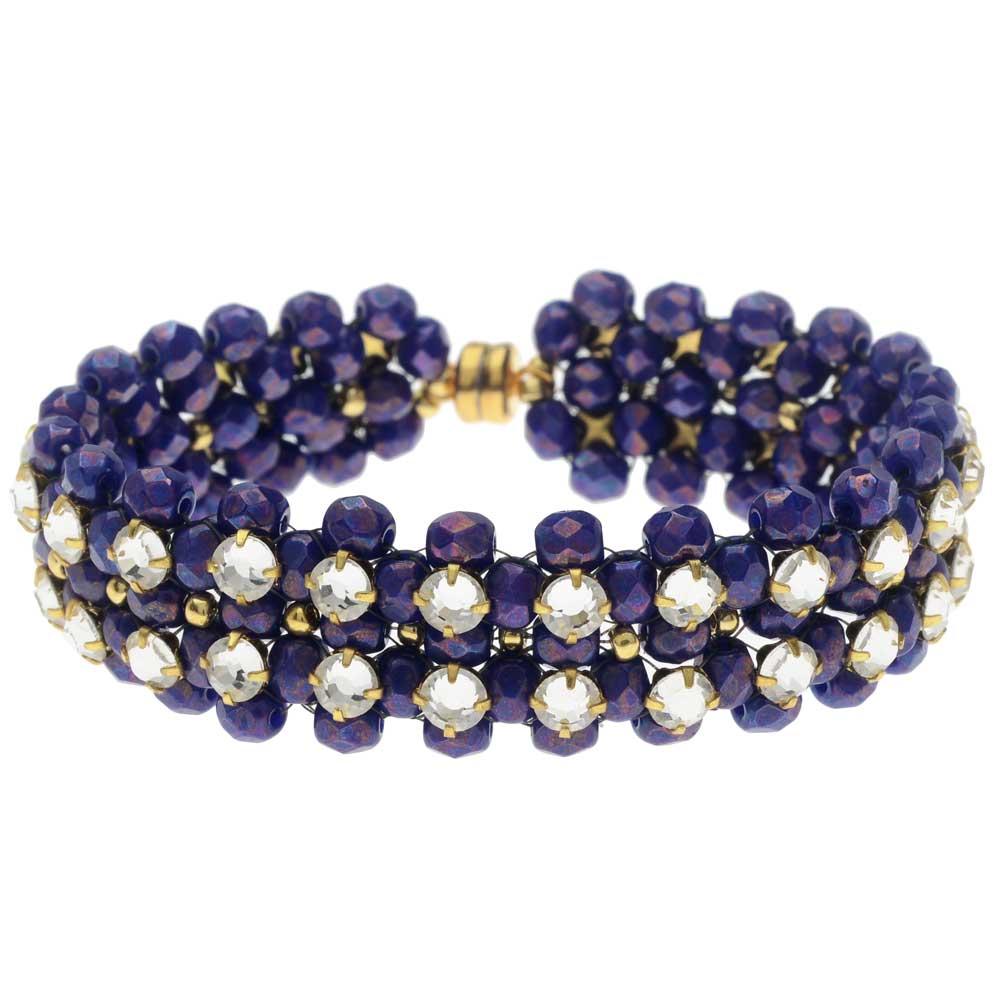 Rose Montee Right Angle Weave Bracelet - Royal Seas - Exclusive Beadaholique Jewelry Kit