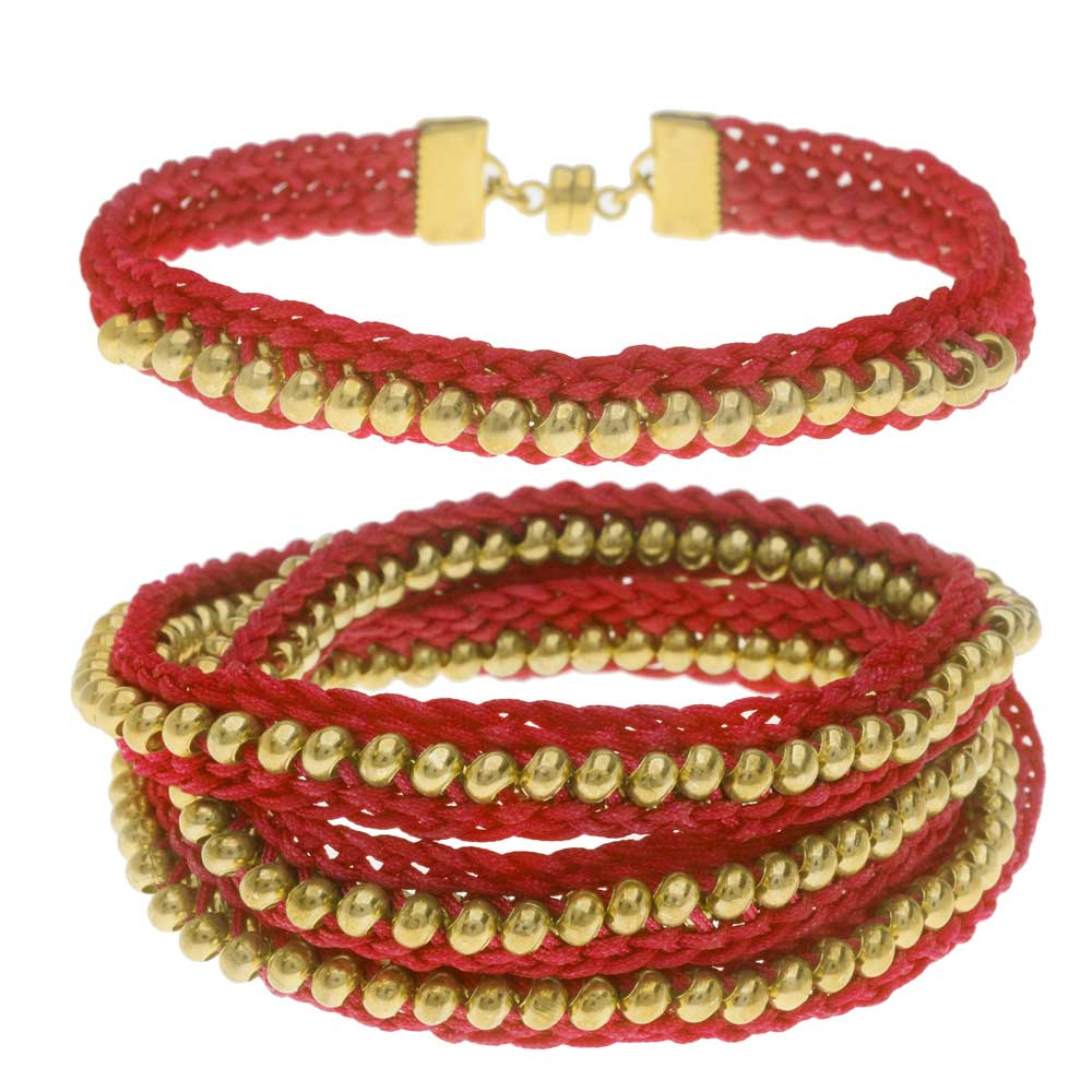 Beaded Flat Kumihimo Bracelet Set - Red/Gold - Exclusive Beadaholique Jewelry Kit