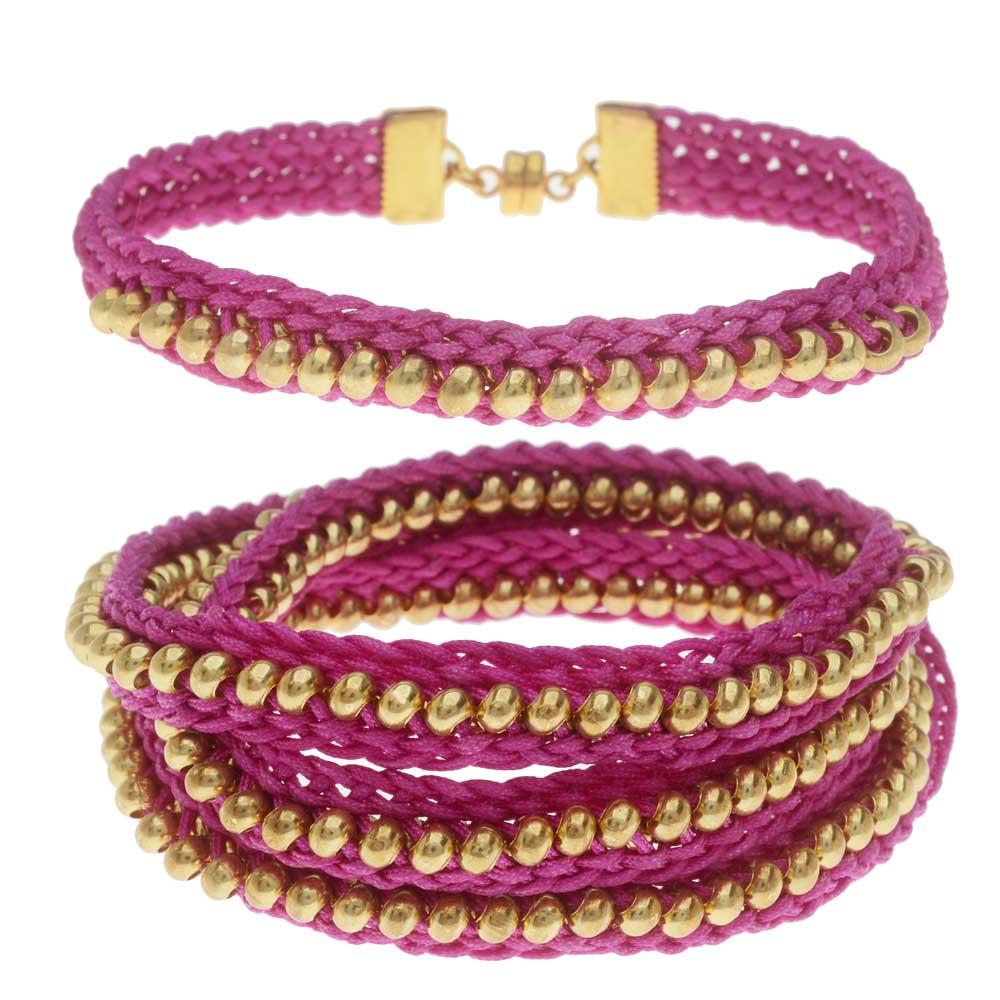 Beaded Flat Kumihimo Bracelet Set - Pink/Gold - Exclusive Beadaholique Jewelry Kit