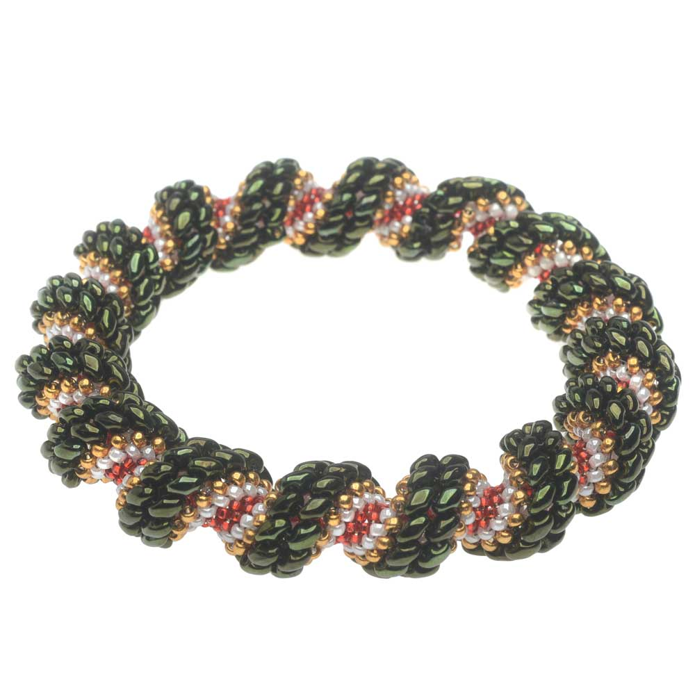 Cellini Spiral Bracelet - Christmas Wreath - Exclusive Beadaholique Jewelry Kit