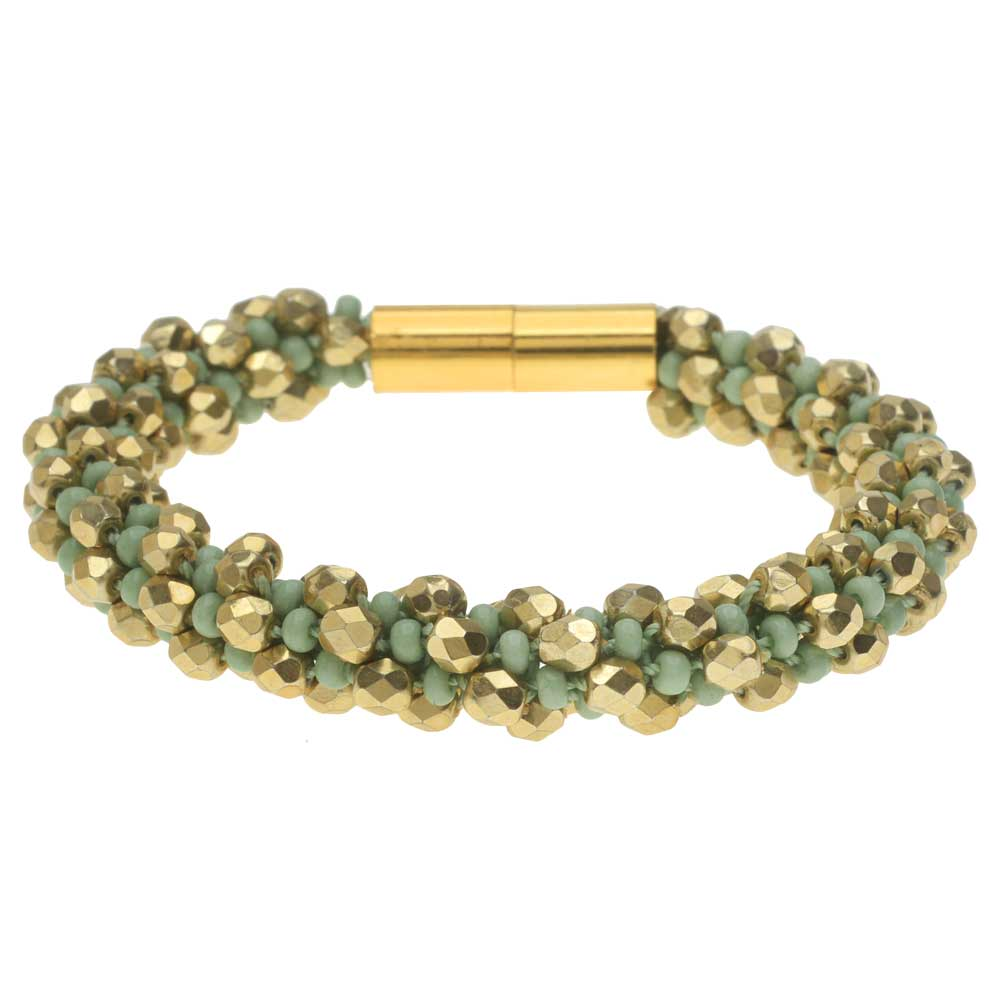 Deluxe Spiral Beaded Kumihimo Bracelet - Green and Gold  - Exclusive Beadaholique Jewelry Kit