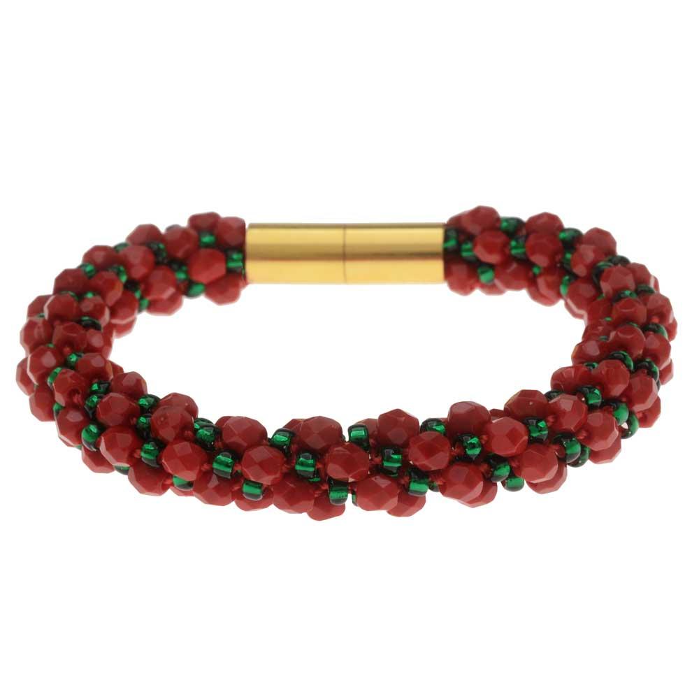 Deluxe Spiral Beaded Kumihimo Bracelet - Christmas Joy - Exclusive Beadaholique Jewelry Kit