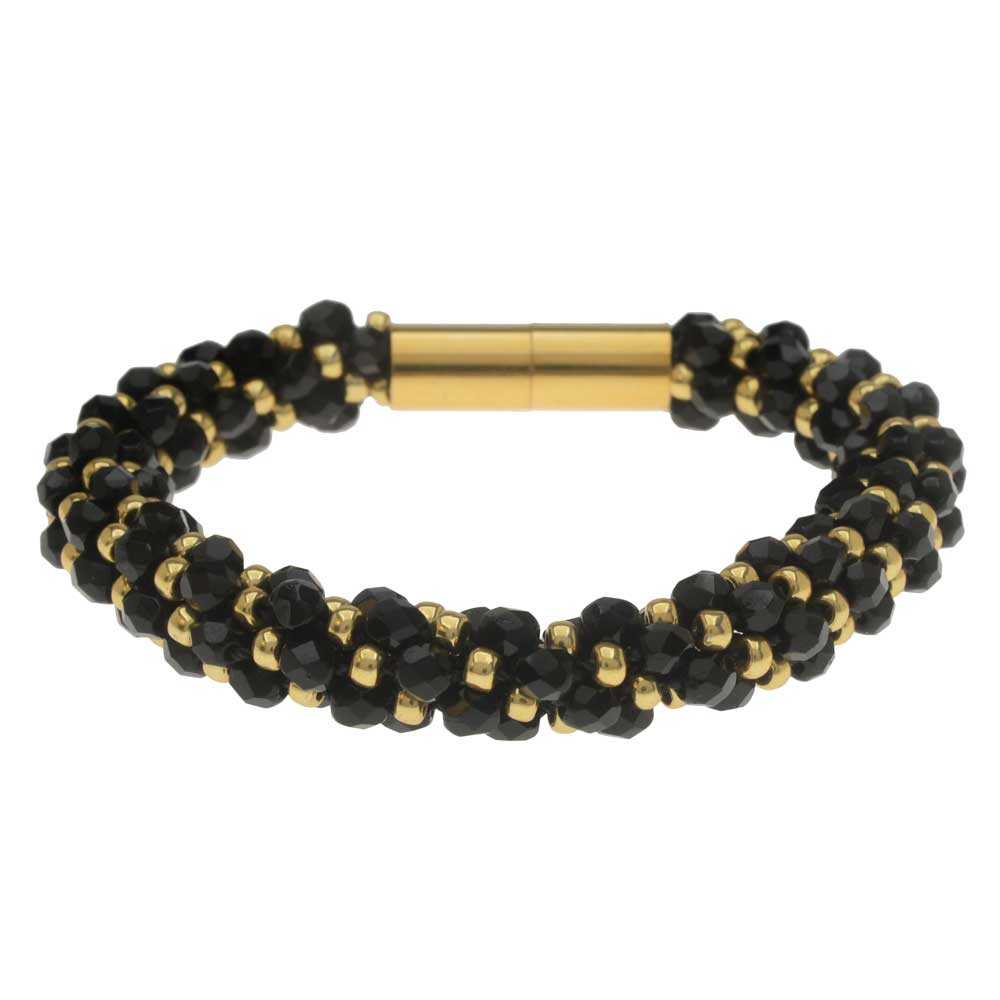 Deluxe Spiral Beaded Kumihimo Bracelet - Black and Gold - Exclusive Beadaholique Jewelry Kit