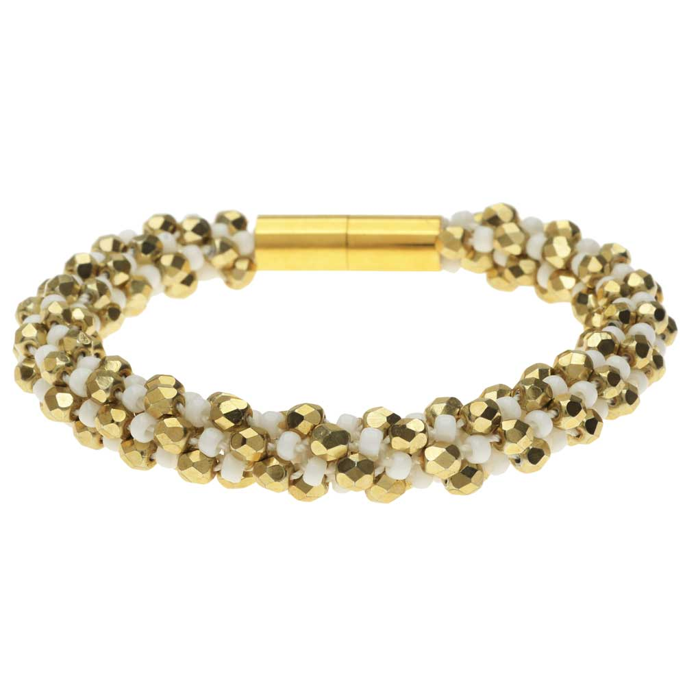 Deluxe Spiral Beaded Kumihimo Bracelet - White and Gold - Exclusive Beadaholique Jewelry Kit