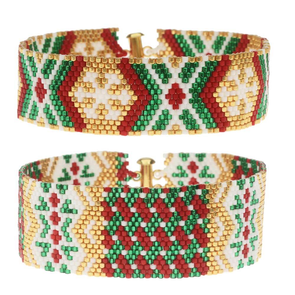 Odd Count Peyote Duo Bracelet Kit - Christmas Party - Exclusive Beadaholique Jewelry Kit