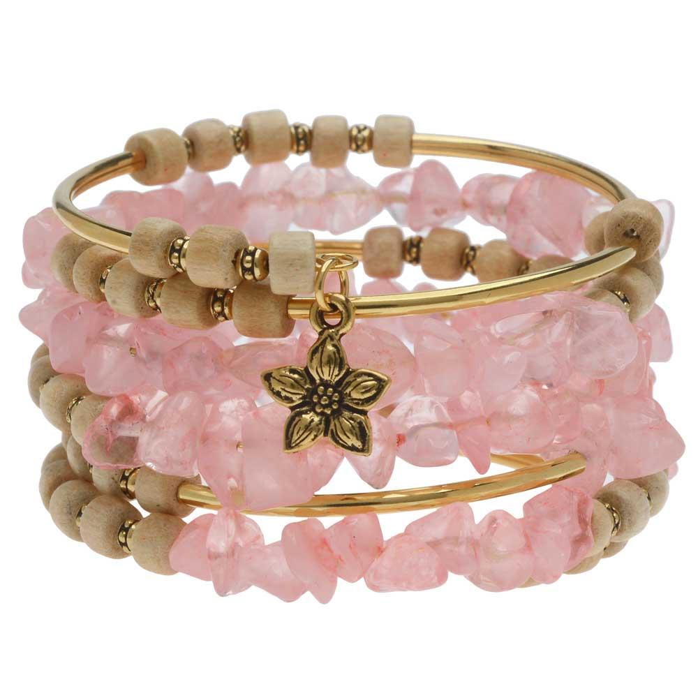 Boho Gold & Rose Quartz Gemstone Memory Wire Bracelet - Exclusive Beadaholique Jewelry Kit