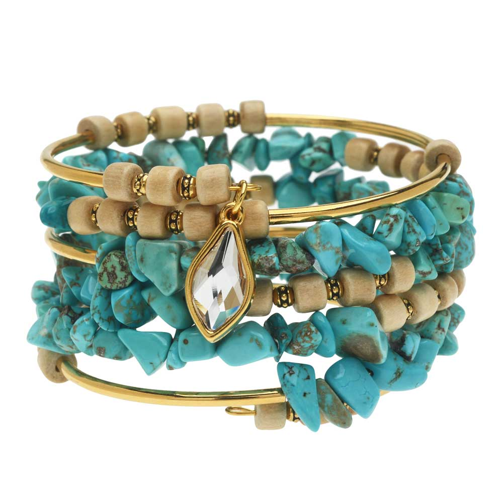 Boho Gold & Turquoise Gemstone Memory Wire Bracelet - Exclusive Beadaholique Jewelry Kit