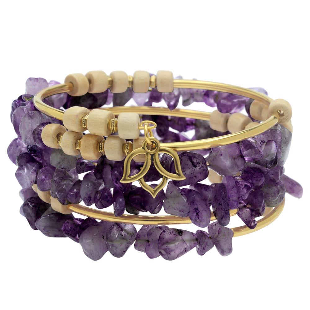 Boho Gold & Amethyst Gemstone Memory Wire Bracelet - Exclusive Beadaholique Jewelry