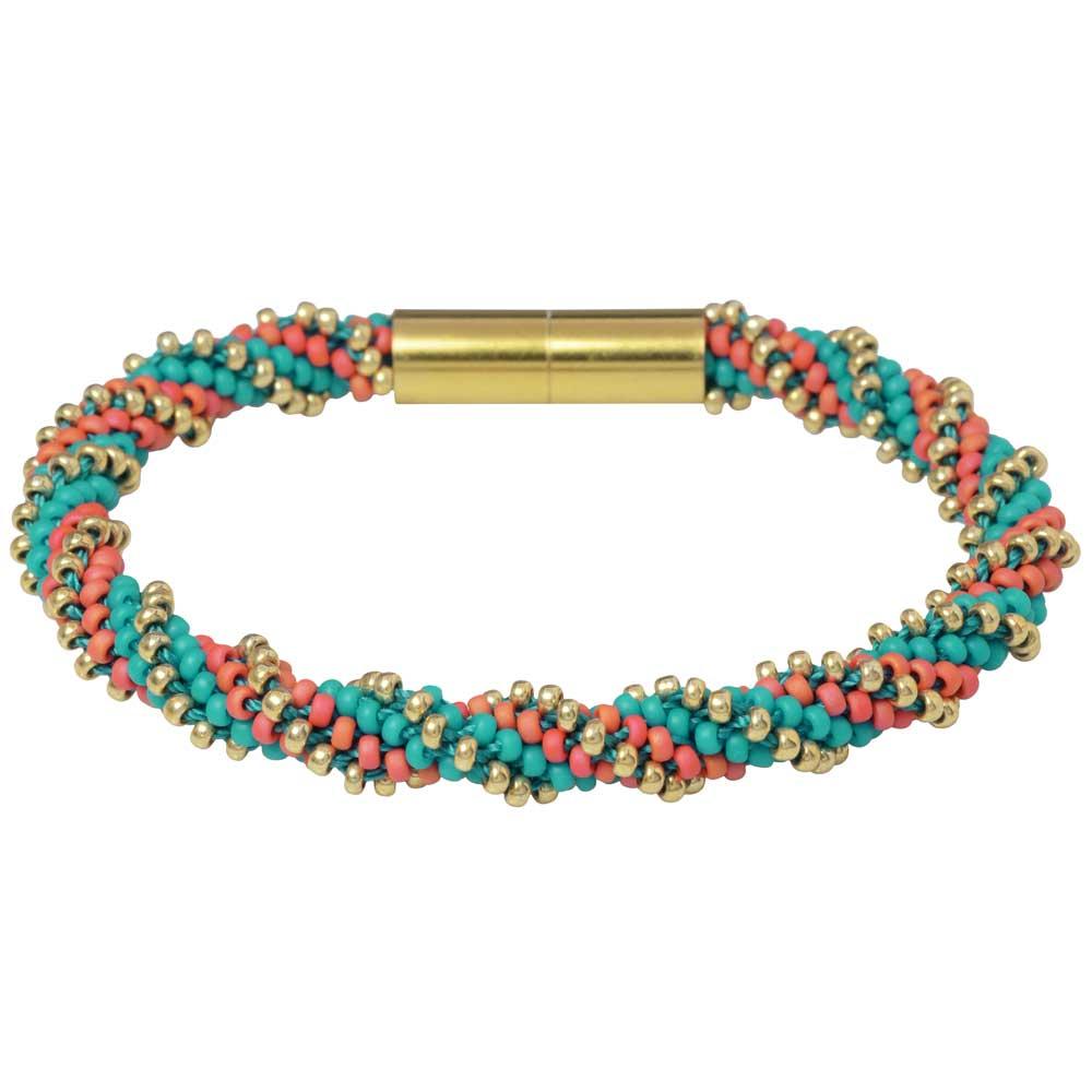 Spiral 12 Warp Beaded Kumihimo Bracelet - Tropical Cove - Exclusive Beadaholique Jewelry Kit