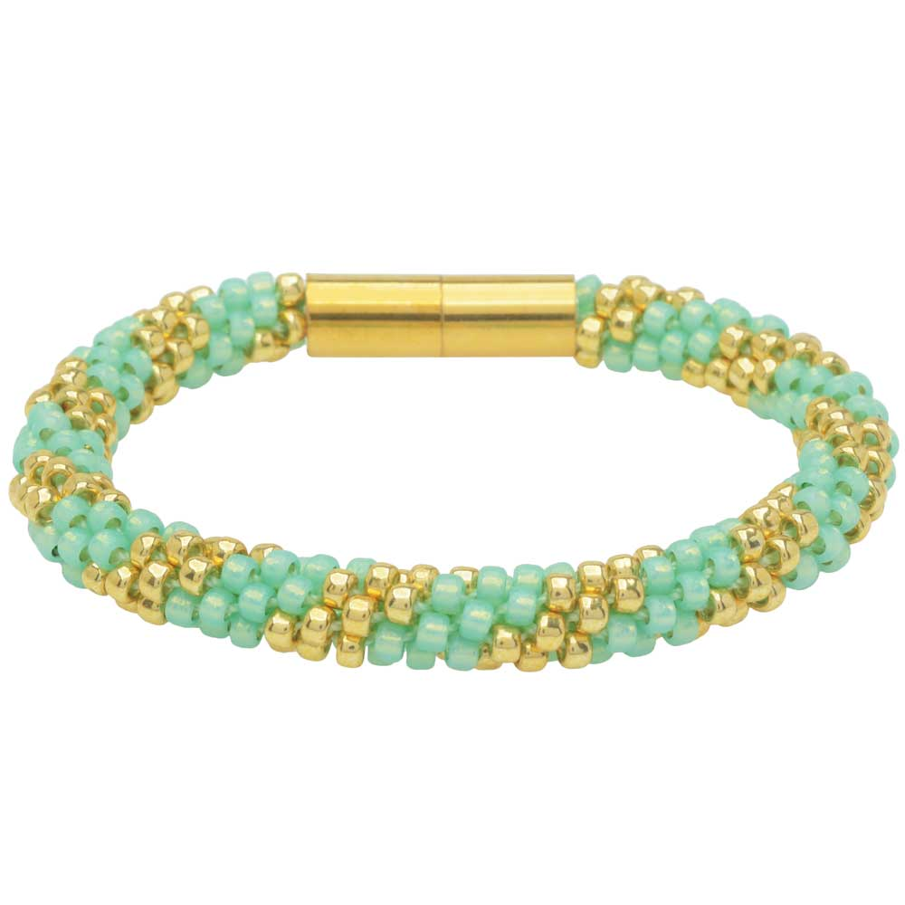 Splendid Spiral Kumihimo Bracelet in Mint and Gold - Exclusive Beadaholique Jewelry Kit