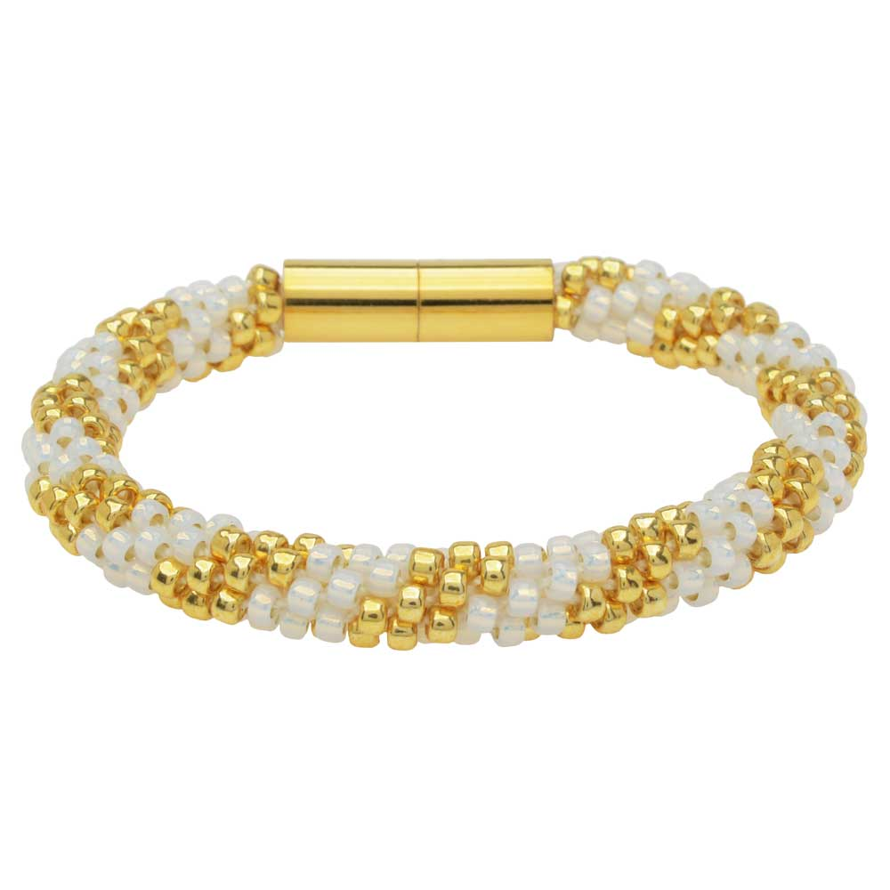 Splendid Spiral Kumihimo Bracelet in White and Gold - Exclusive Beadaholique Jewelry Kit