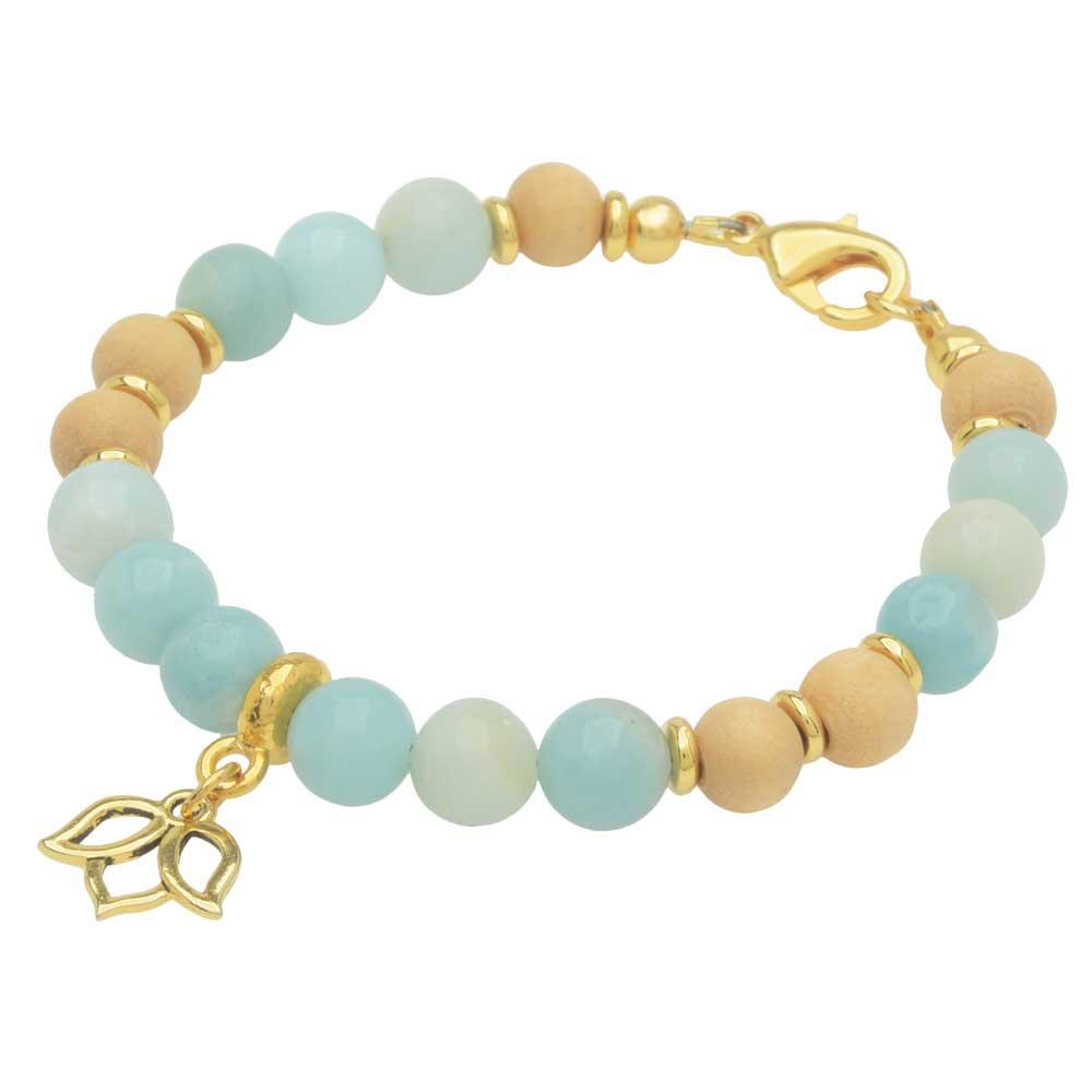Gemstone Lotus Bracelet in Amazonite - Exclusive Beadaholique Jewelry Kit