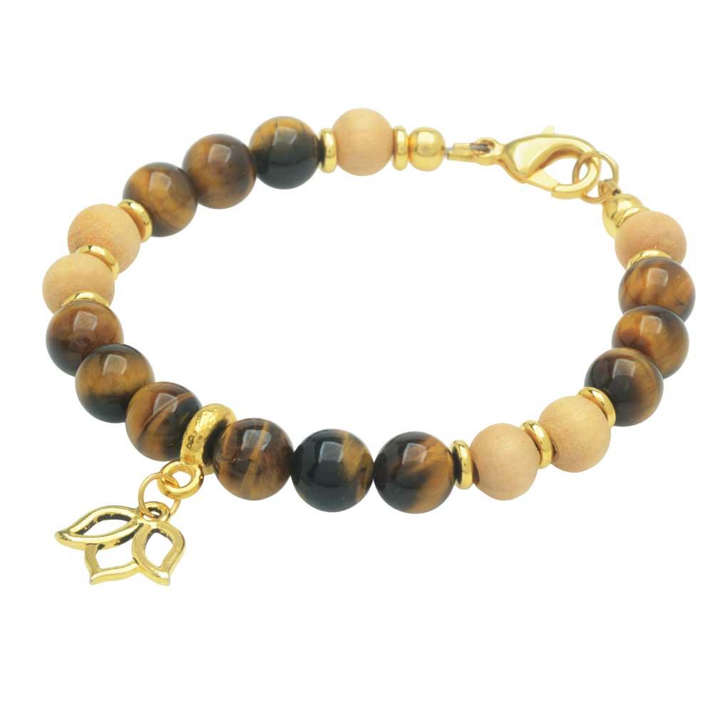 Gemstone Lotus Bracelet in Tiger's Eye - Exclusive Beadaholique Jewelry Kit