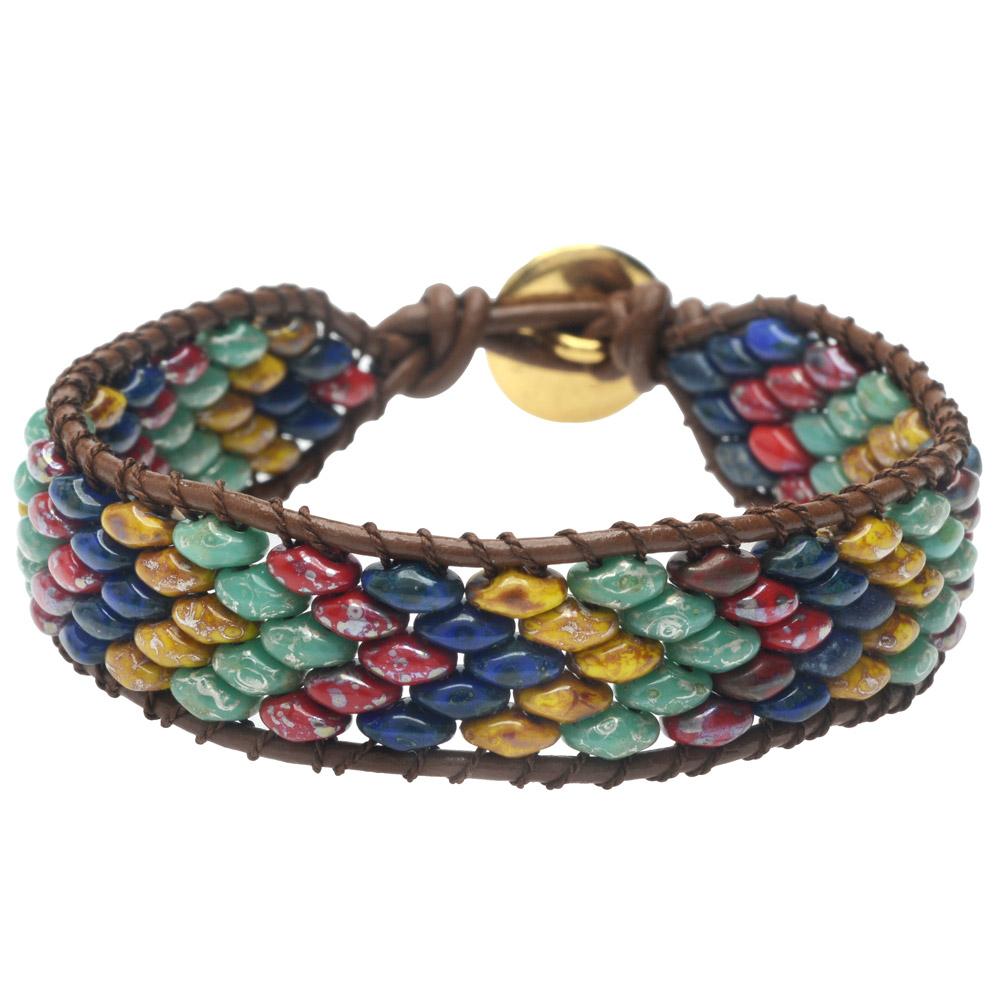 SuperDuo Wrapit Loom Bracelet in Raku - Exclusive Beadaholique Jewelry Kit
