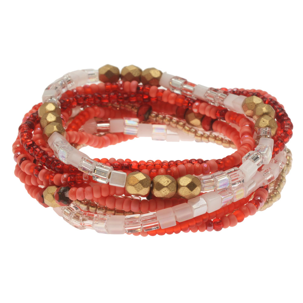 Serendipity Stretch Bracelet Kit in Coral, 12 Bracelets - Exclusive Beadaholique Jewelry Kit