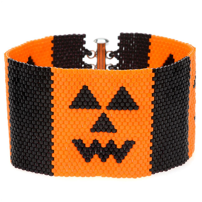 Jack-O-Lantern Peyote Bracelet - Exclusive Beadaholique Jewelry Kit
