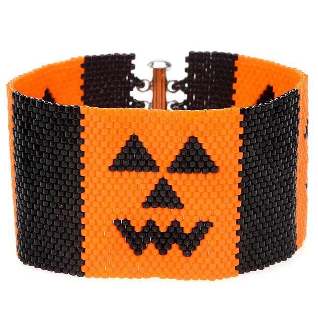 Jack-O-Lantern Peyote Bracelet - Exclusive Beadaholique Jewelry Kit