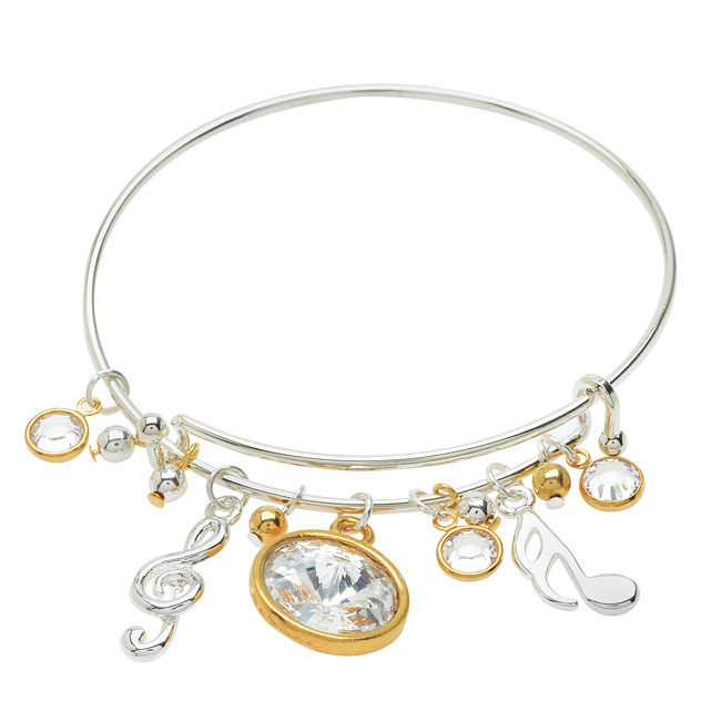 Music Notes Deluxe Charm Bangle Bracelet - Exclusive Beadaholique Jewelry Kit