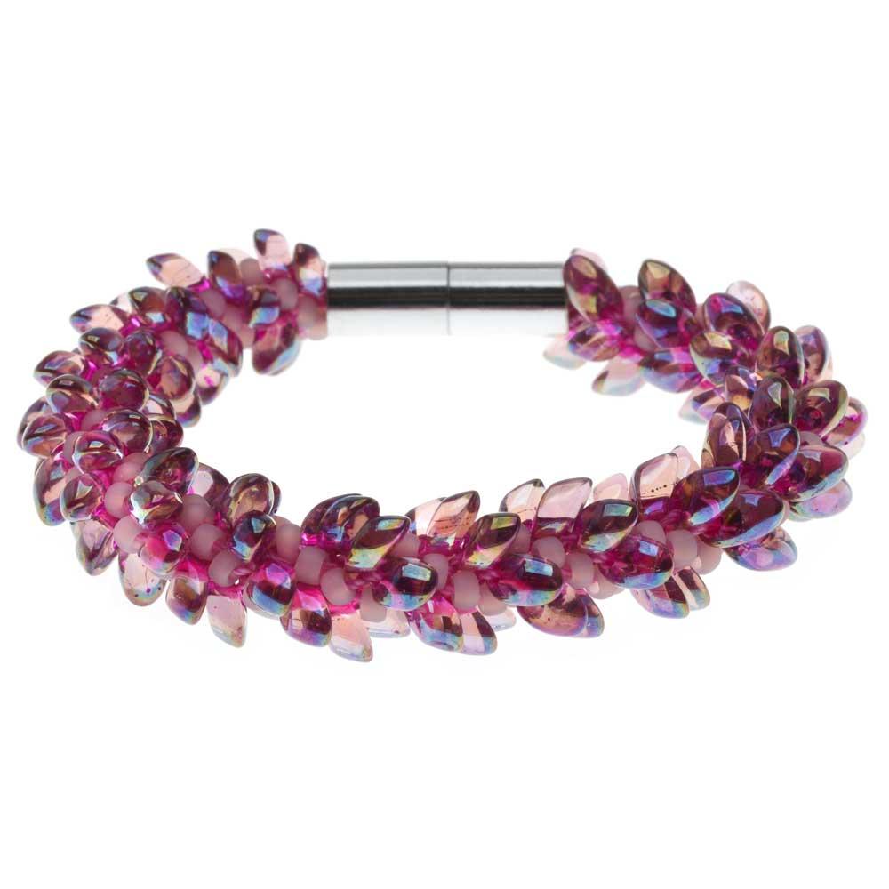 Deluxe Beaded Kumihimo Bracelet (Pink Iris) - Exclusive Beadaholique Jewelry Kit