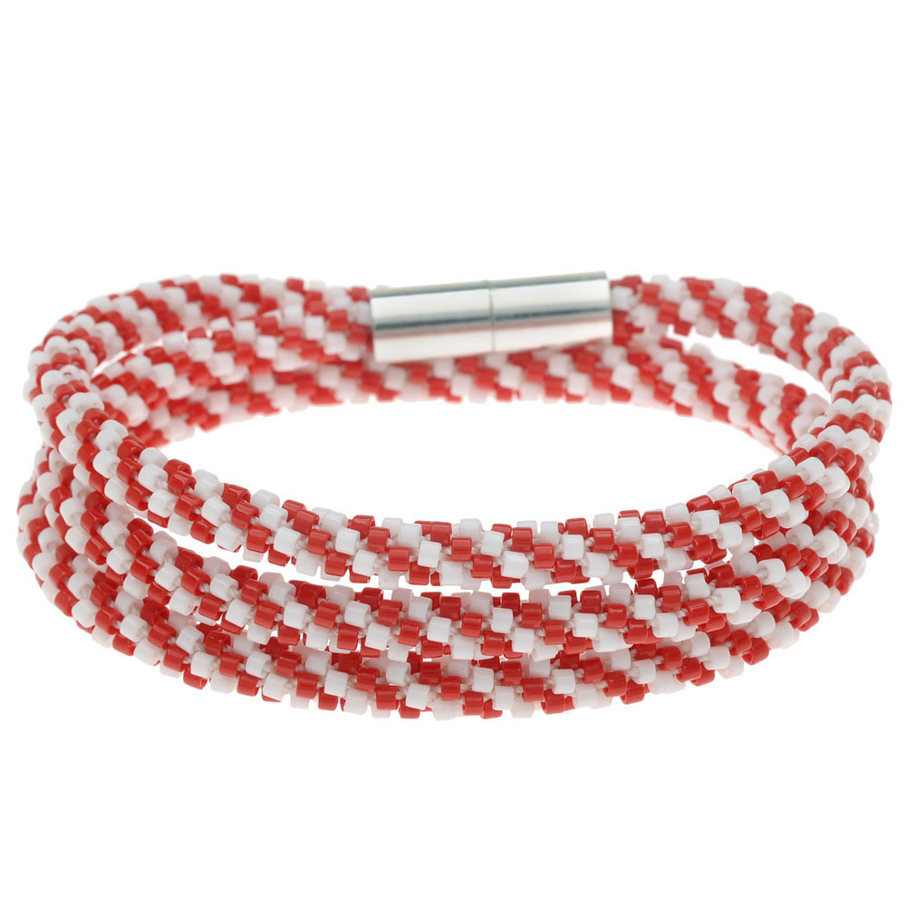 Beaded Kumihimo Wrap Bracelet - Candy Cane - Exclusive Beadaholique Jewelry Kit