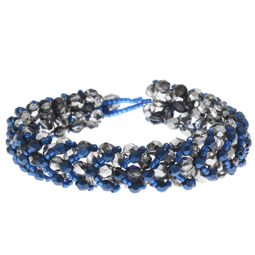 Chevron Right Angle Weave Bracelet - Blue/Silver - Exclusive Beadaholique Jewelry Kit