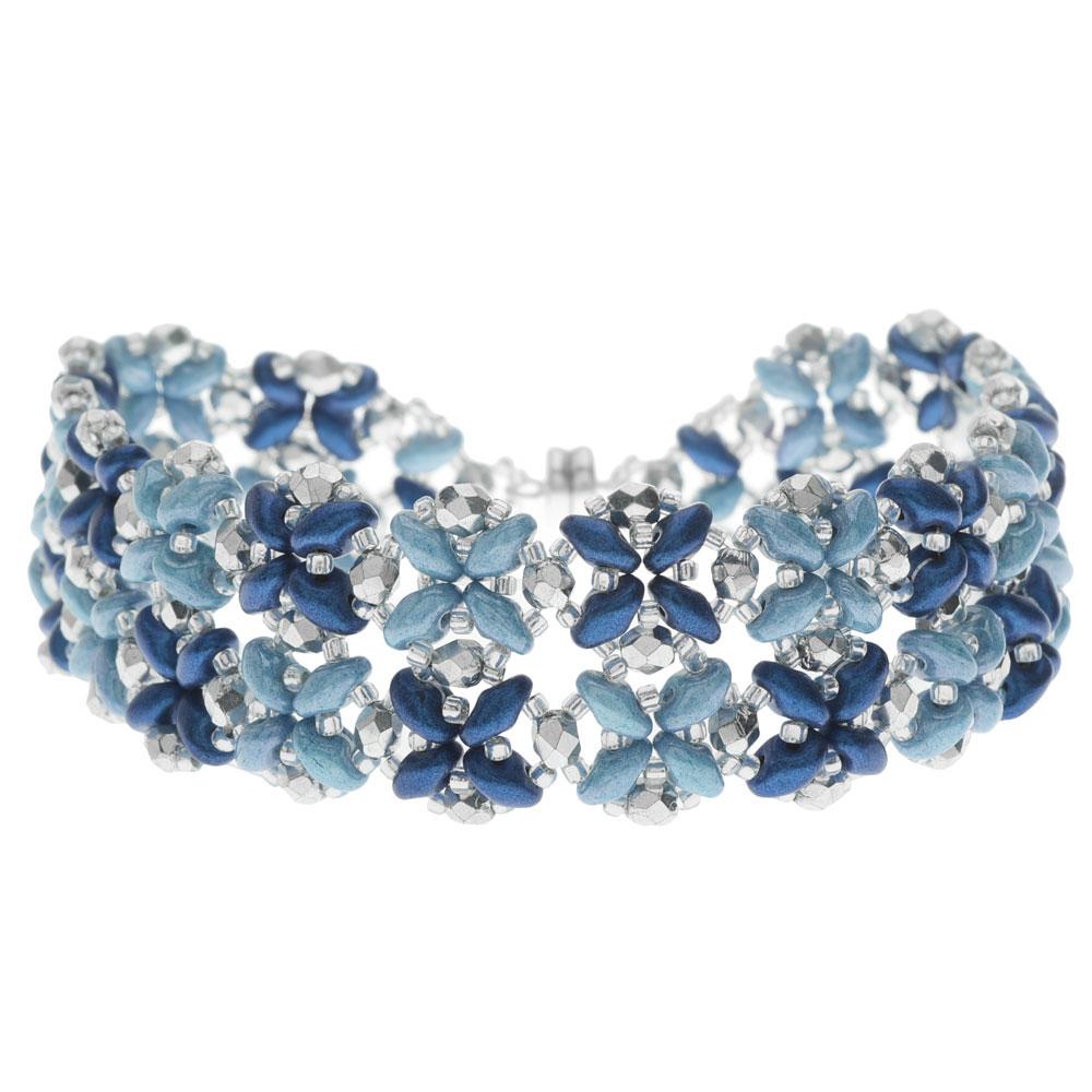 SuperDuo Blooms Bracelet - Blue - Exclusive Beadaholique Jewelry Kit