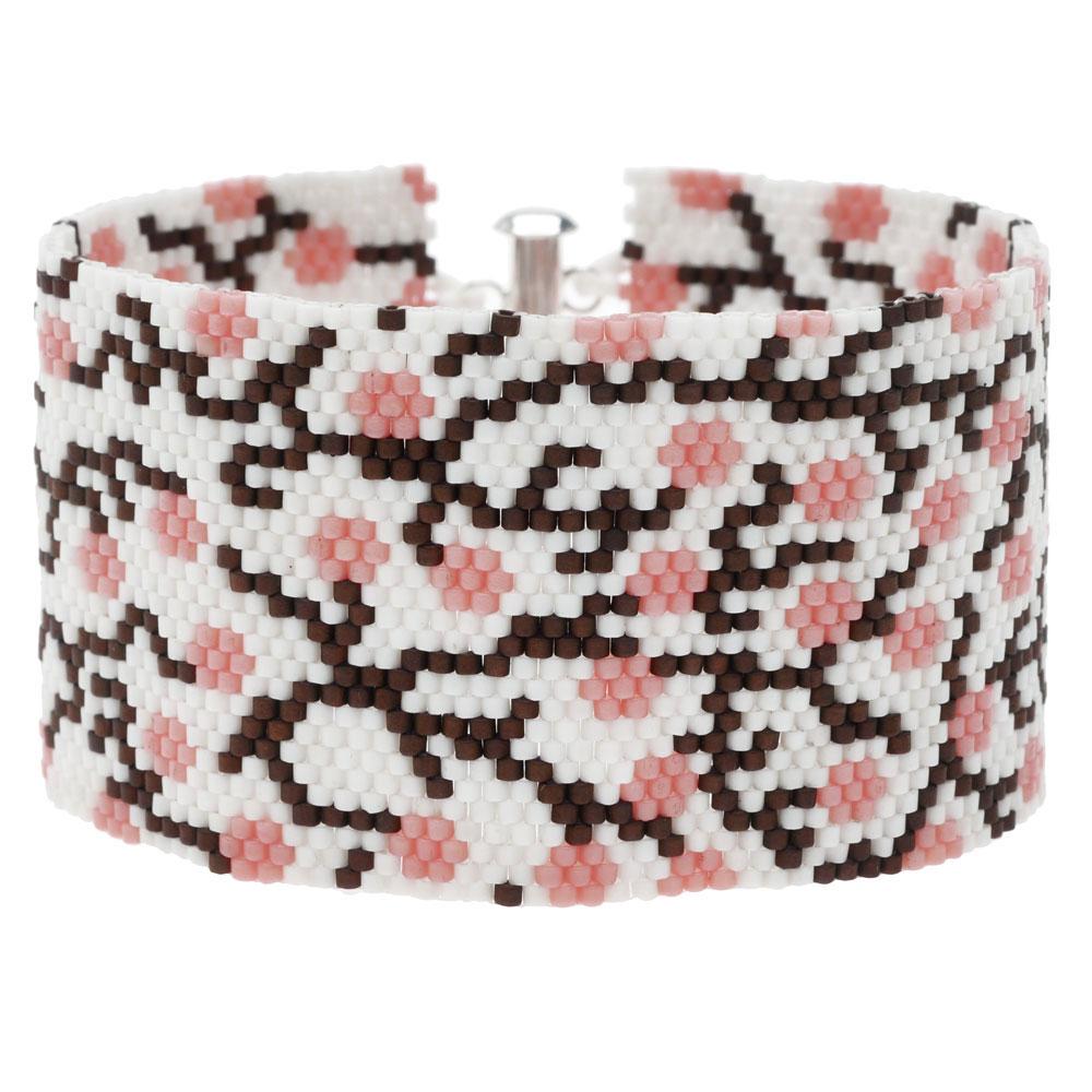 Peyote Bracelet - Cherry Blossom in White - Exclusive Beadaholique Jewelry Kit