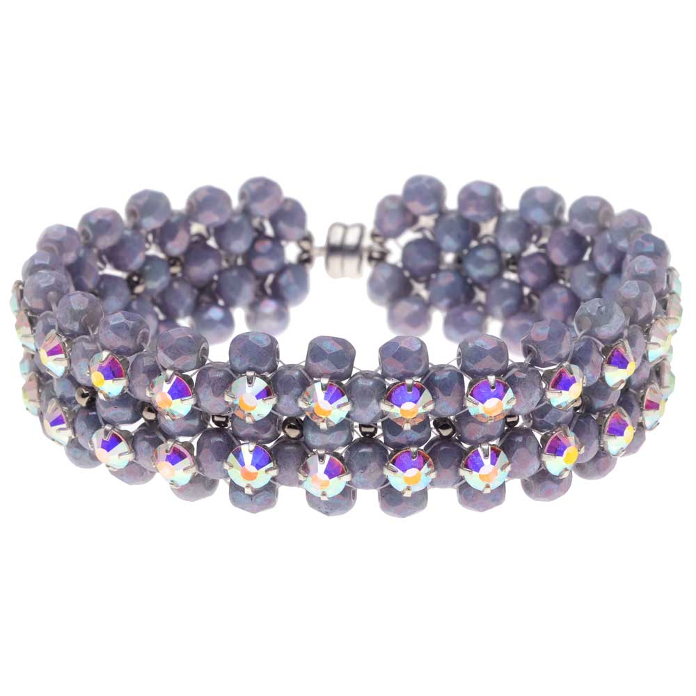 Rose Montee Right Angle Weave Bracelet - Lavender Garden - Exclusive Beadaholique Jewelry Kit