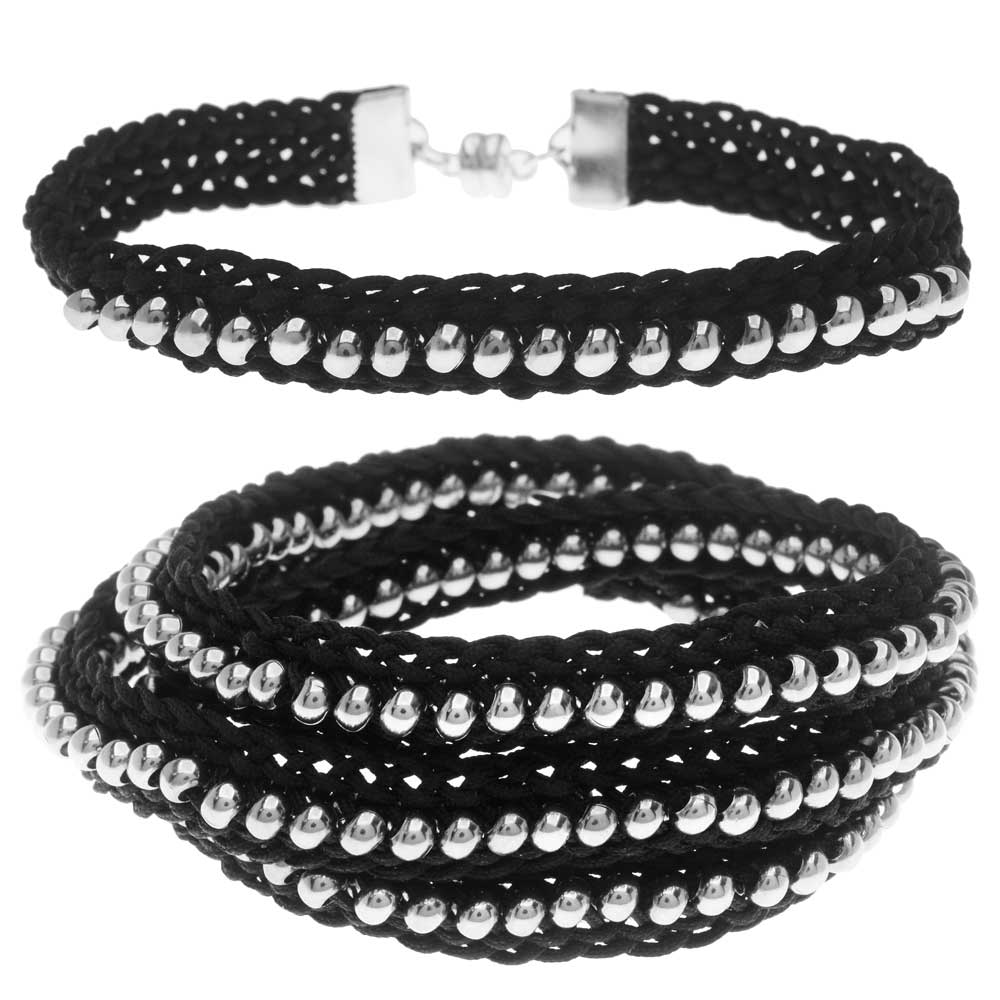 Beaded Flat Kumihimo Bracelet Set - Black/Silver - Exclusive Beadaholique Jewelry Kit