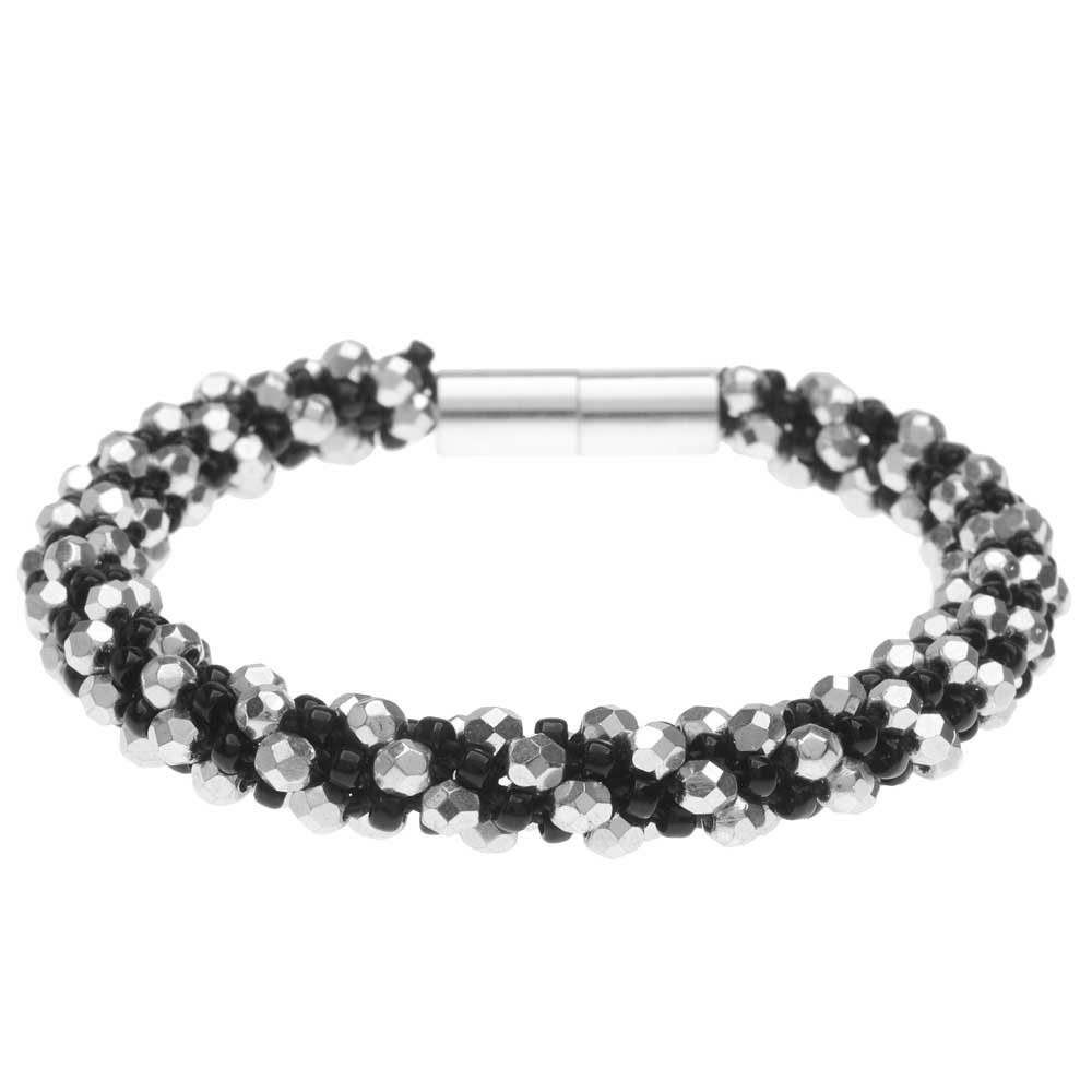 Deluxe Spiral Beaded Kumihimo Bracelet - Black and Silver  - Exclusive Beadaholique Jewelry Kit