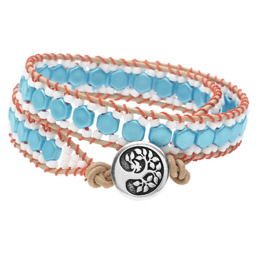 Honeycomb Double Wrapped Loom Bracelet - Coral & Aqua - Exclusive Beadaholique Jewelry Kit
