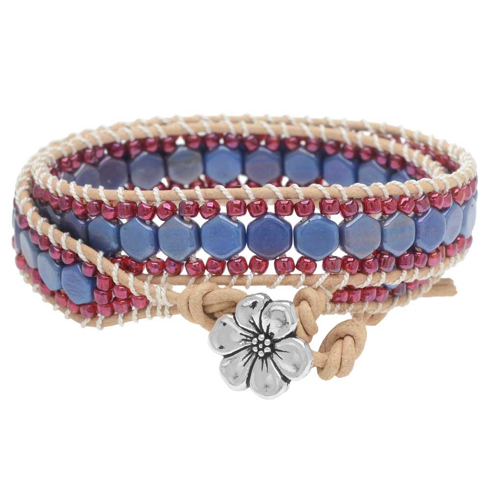Honeycomb Double Wrapped Loom Bracelet - Raspberry & Blue - Exclusive Beadaholique Jewelry Kit