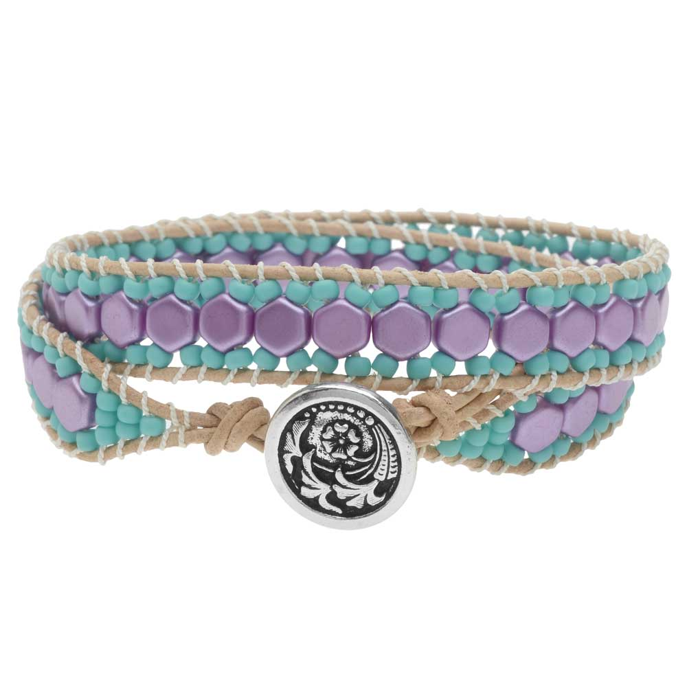 Honeycomb Double Wrapped Loom Bracelet - Lilac & Teal - Exclusive Beadaholique Jewelry Kit
