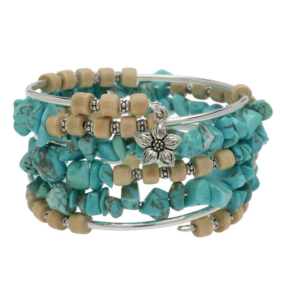 Boho Silver & Turquoise Gemstone Memory Wire Bracelet - Exclusive Beadaholique Jewelry Kit