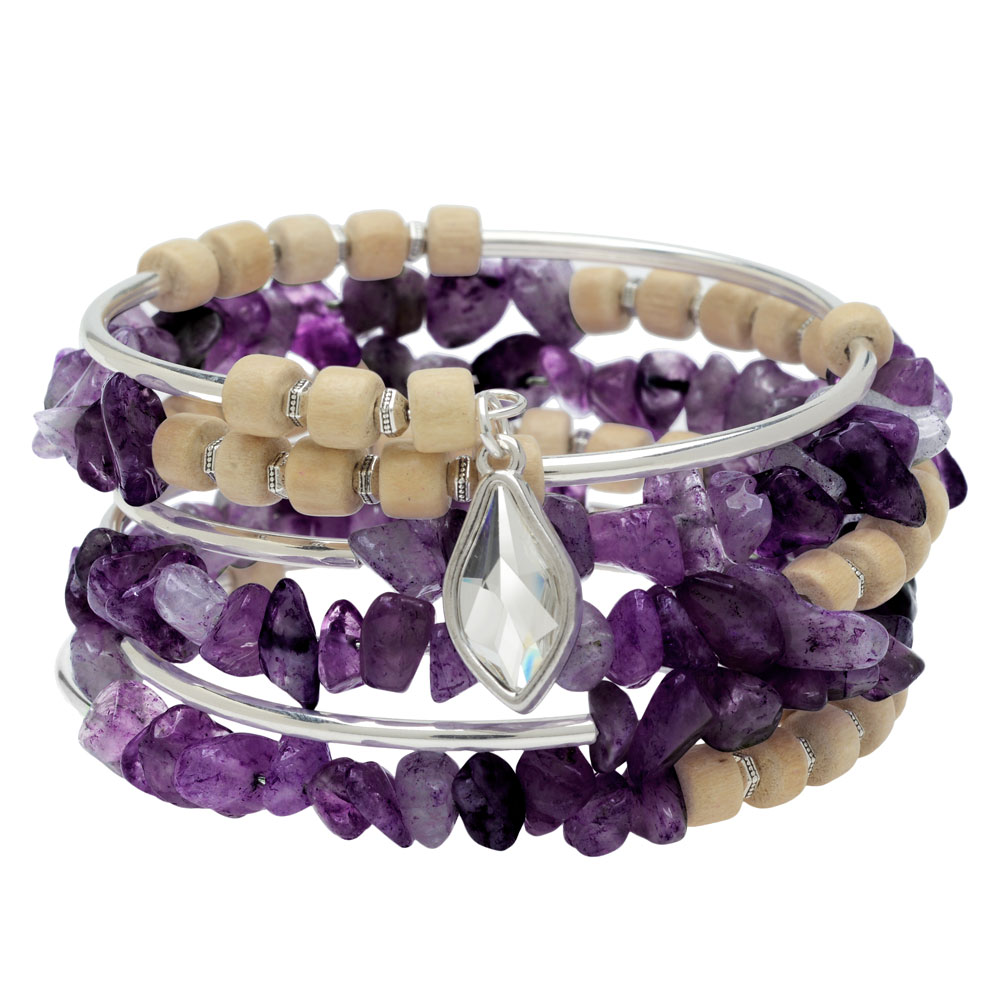 Boho Silver & Amethyst Gemstone Memory Wire Bracelet - Exclusive Beadaholique Jewelry