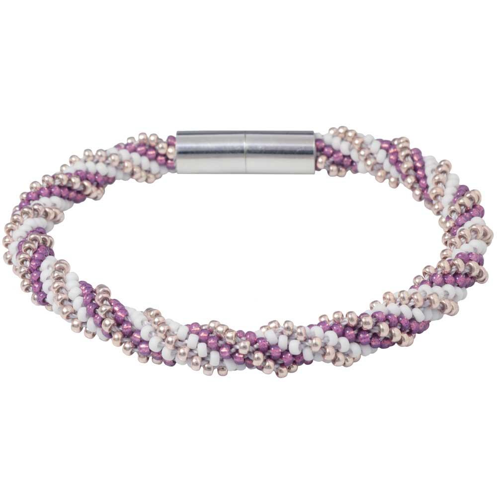 Spiral 12 Warp Beaded Kumihimo Bracelet - Sweet Orchid - Exclusive Beadaholique Jewelry Kit