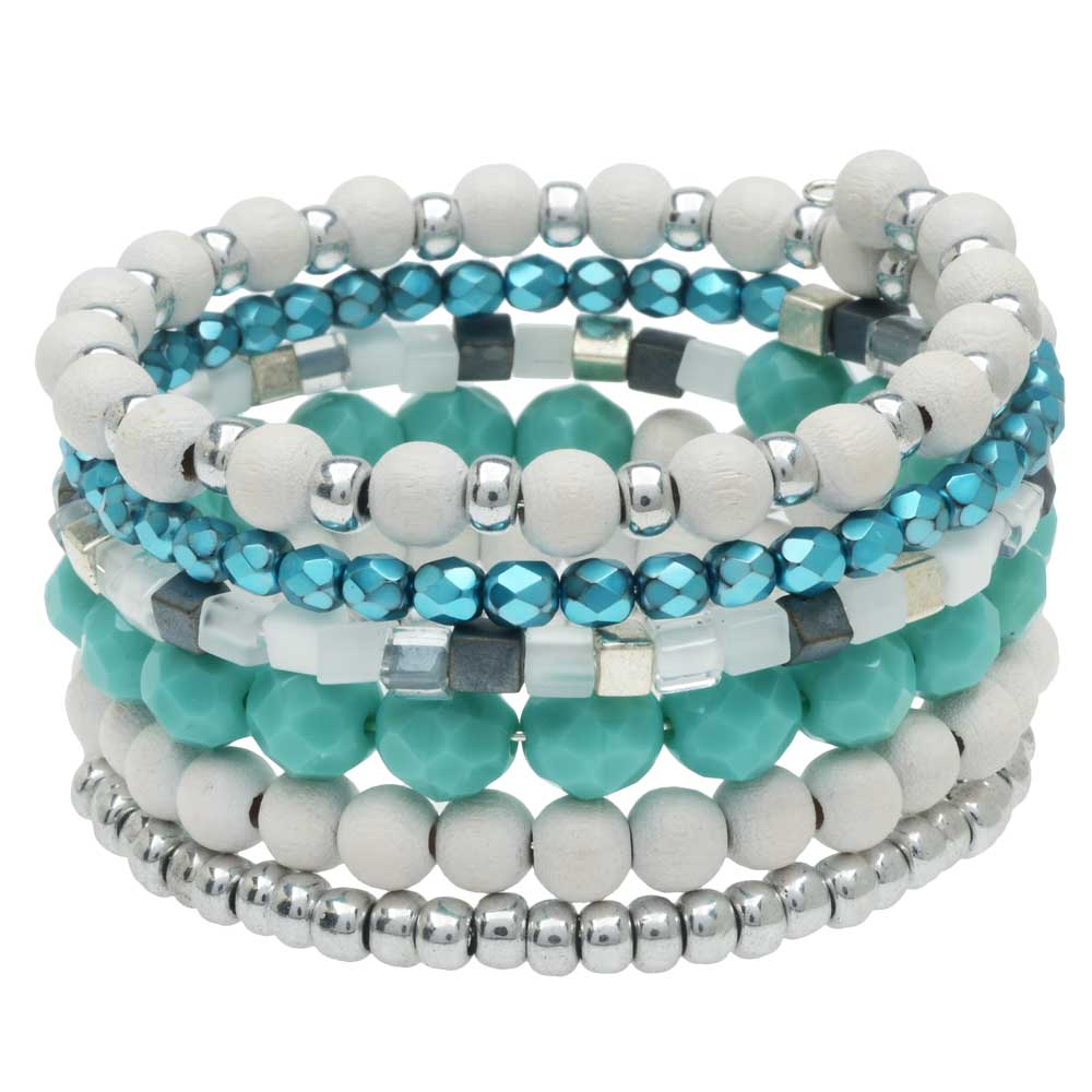 Stacked Memory Wire Bracelet in Oahu - Exclusive Beadaholique Jewelry Kit