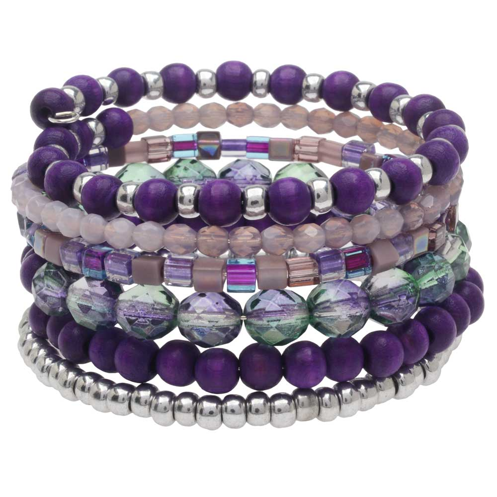 Stacked Memory Wire Bracelet in Blackberry - Exclusive Beadaholique Jewelry Kit