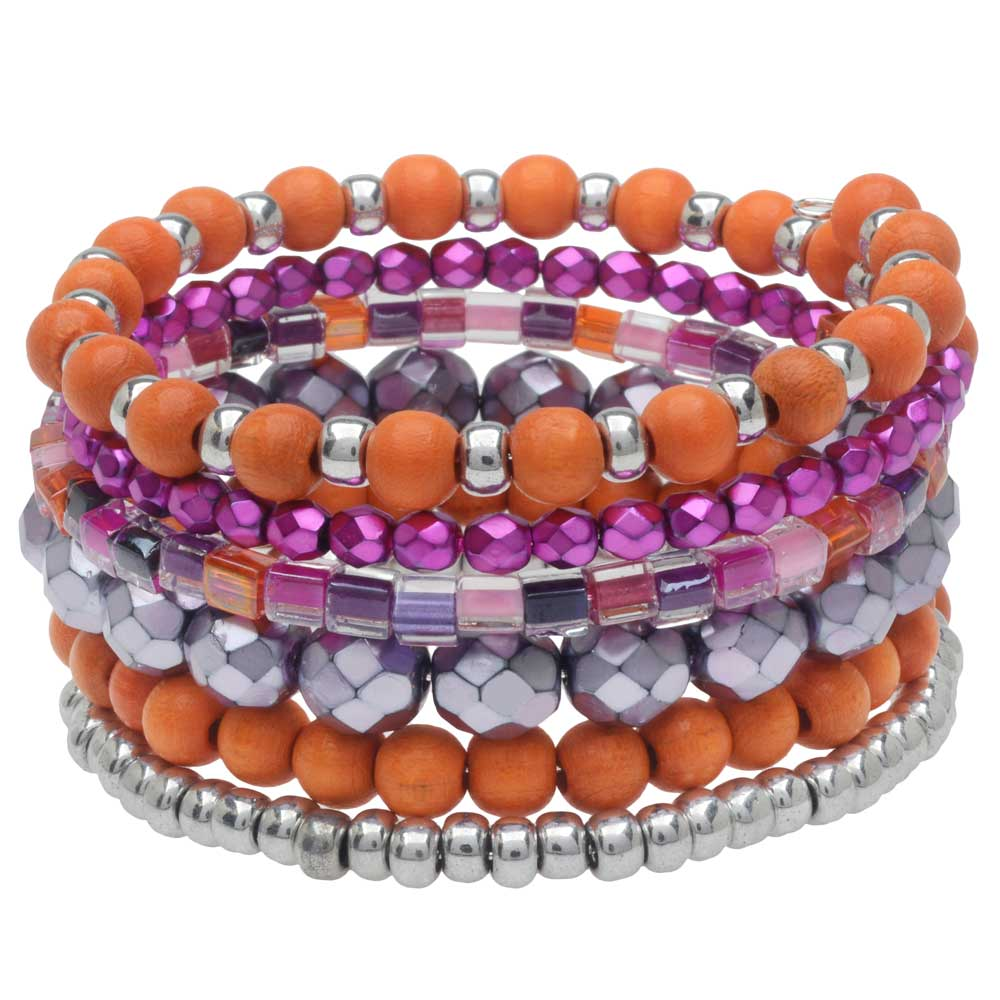 Stacked Memory Wire Bracelet in Tiger Lily - Exclusive Beadaholique Jewelry Kit