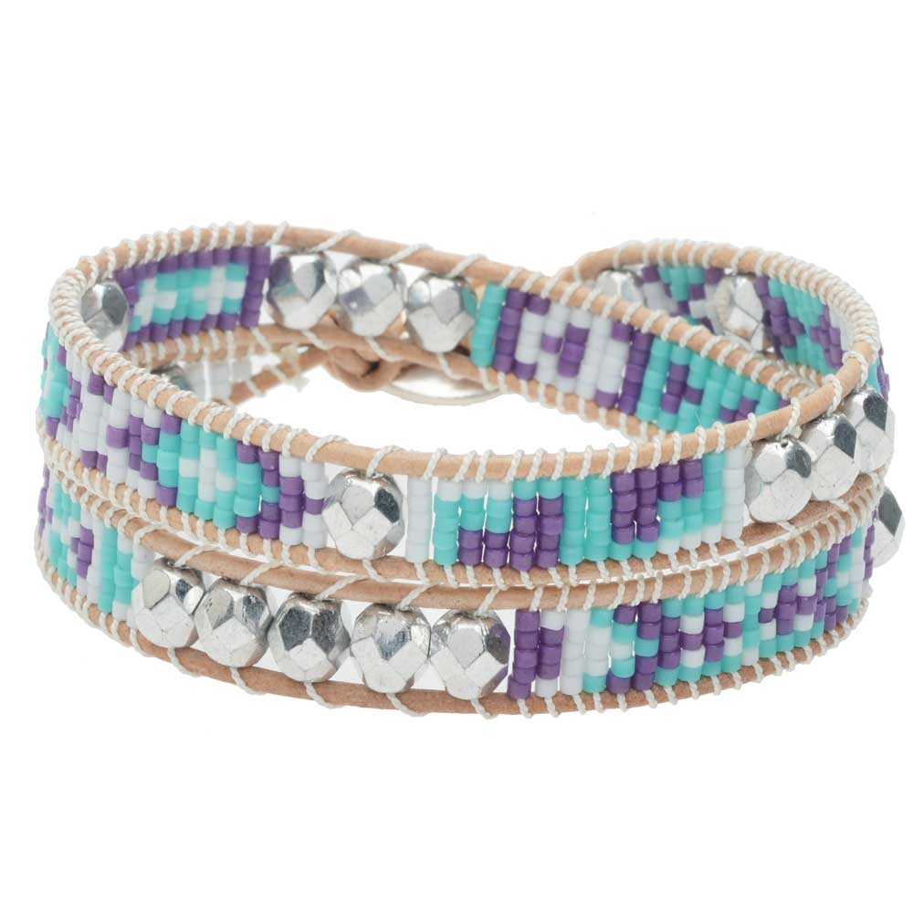 Mosaic Double Wrapped Loom Bracelet - Riviera - Exclusive Beadaholique Jewelry Kit
