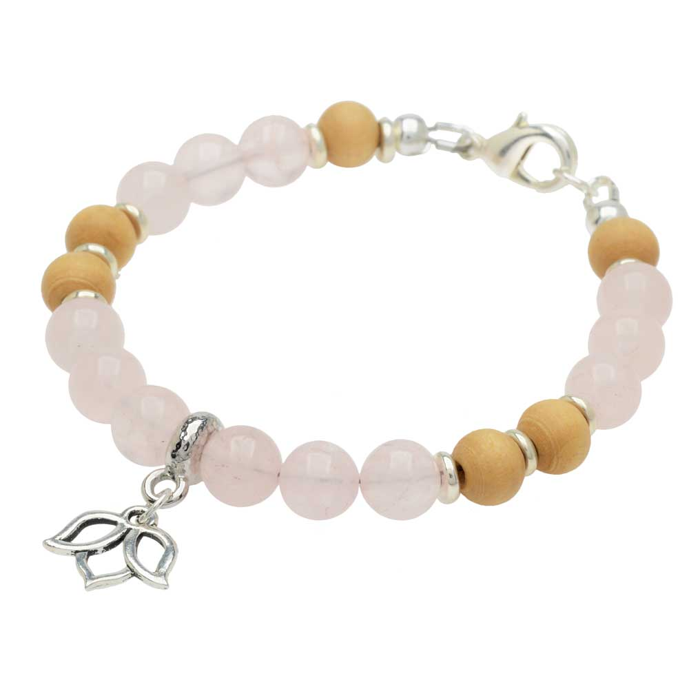 Gemstone Lotus Bracelet in Rose Quartz - Exclusive Beadaholique Jewelry Kit