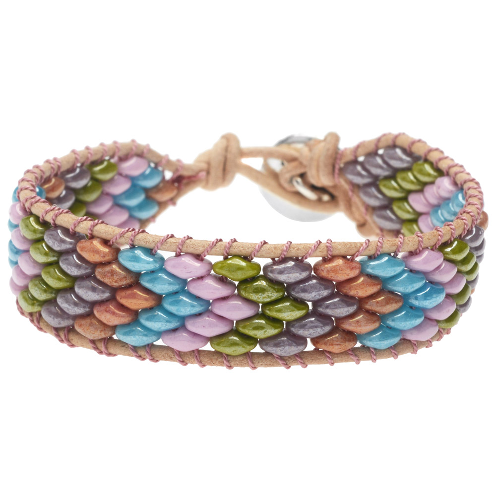 SuperDuo Wrapit Loom Bracelet in Cotton Candy - Exclusive Beadaholique Jewelry Kit