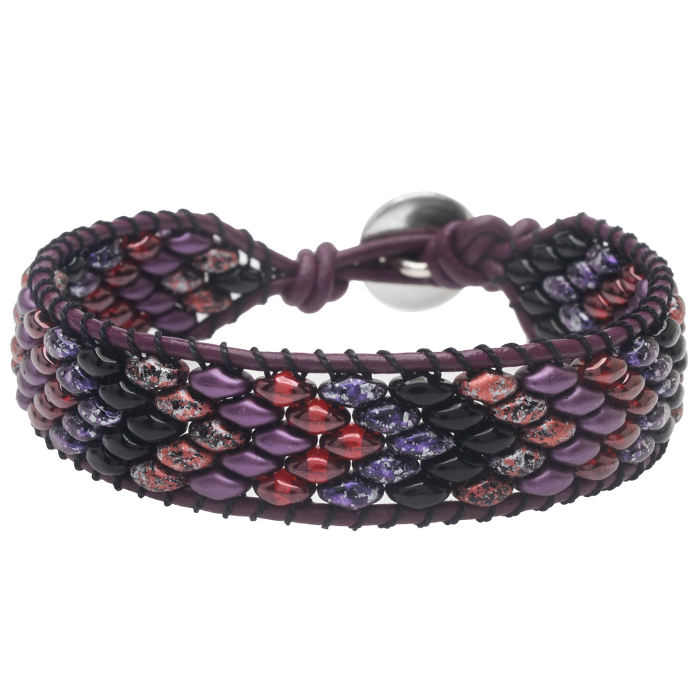 SuperDuo Wrapit Loom Bracelet in Pinot Noir - Exclusive Beadaholique Jewelry Kit