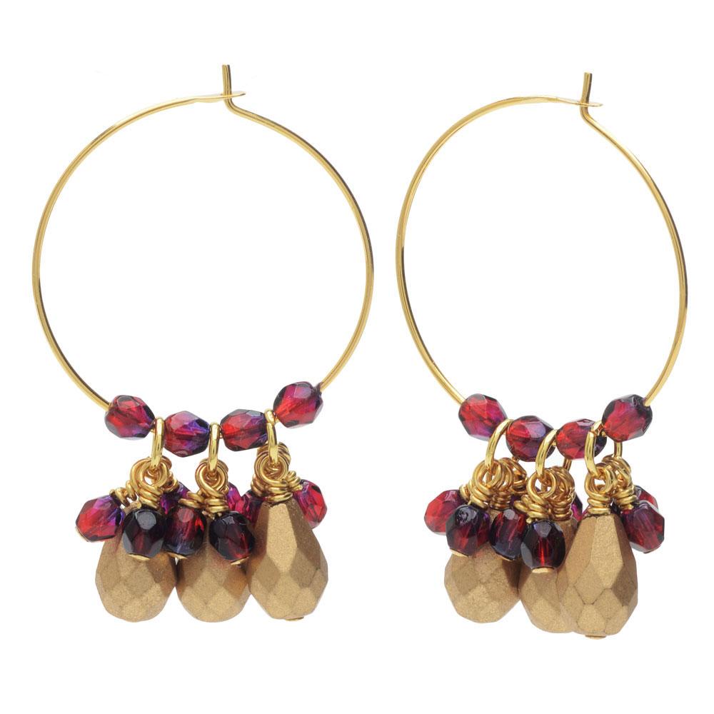 Beaded Hoop Earrings - Gold/Garnet - Exclusive Beadaholique Jewelry Kit