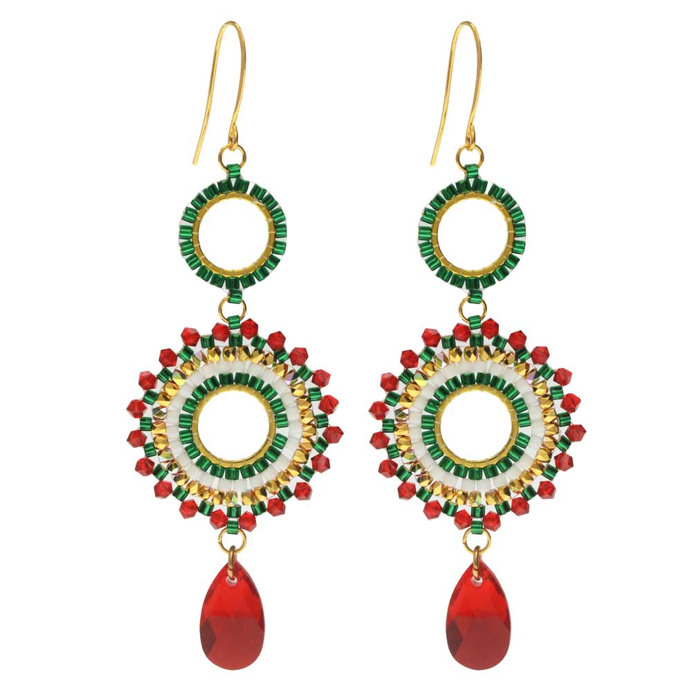Beaded Statement Earrings featuring Swarovski Crystals -Christmas-Exclusive Beadaholique Jewelry Kit