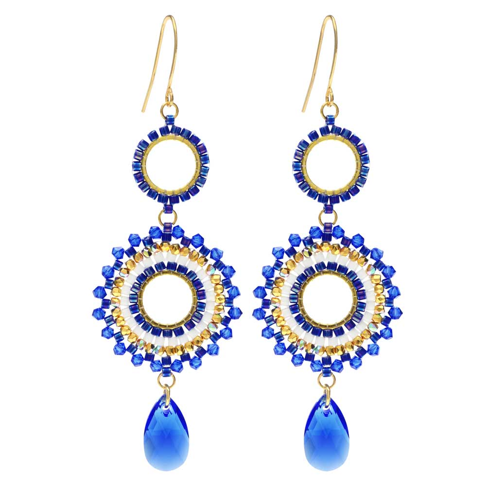 Beaded Statement Earrings featuring Swarovski Crystals -High Seas-Exclusive Beadaholique Jewelry Kit