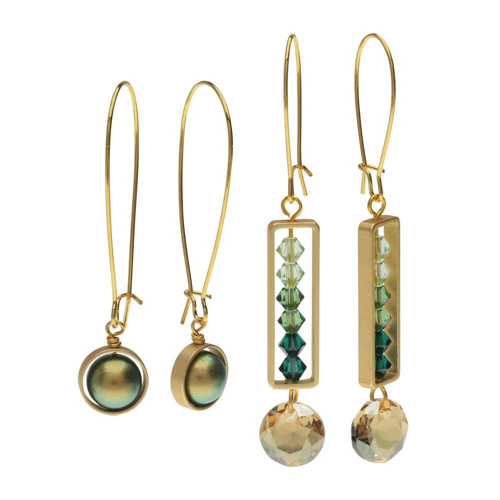 Elegant Bead Frame Earring Duo in Gilded Emerald - Exclusive Beadaholique Jewelry Kit
